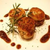 山芋のはさみ揚げ風 鶏肉と筍のハーブ風味 粒マスタードとバルサミコソース