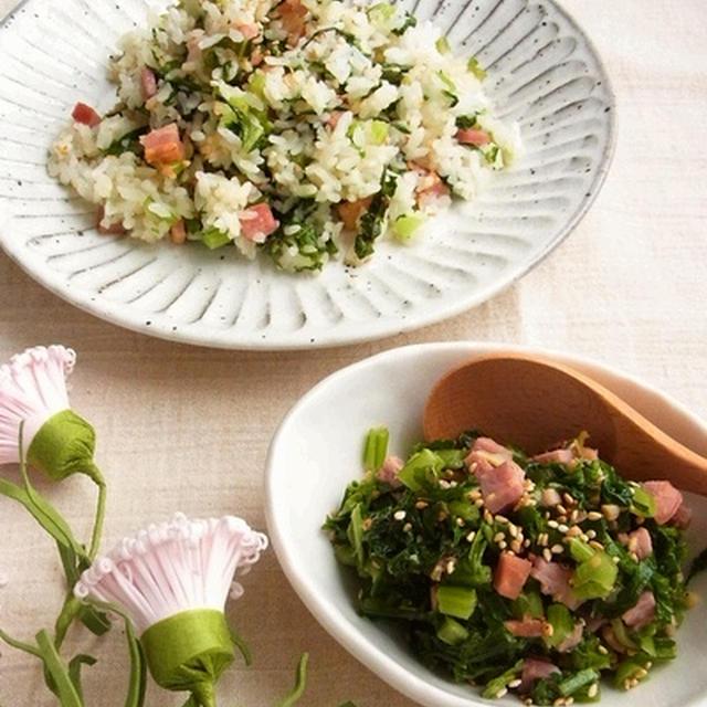 べんりな常備菜 * かぶの葉とベーコンのおかかふりかけ