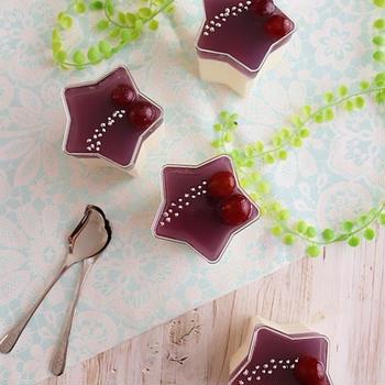 ふんわりレアチーズケーキ×ぶどうゼリーの2層ケーキ【cotta七夕特集】*次男作の朝食
