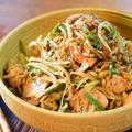 モヤシ好きハウス。レンチン一発黒ゴマ坦々麺風鶏サラダ(糖質6.6g) by ねこやましゅんさん