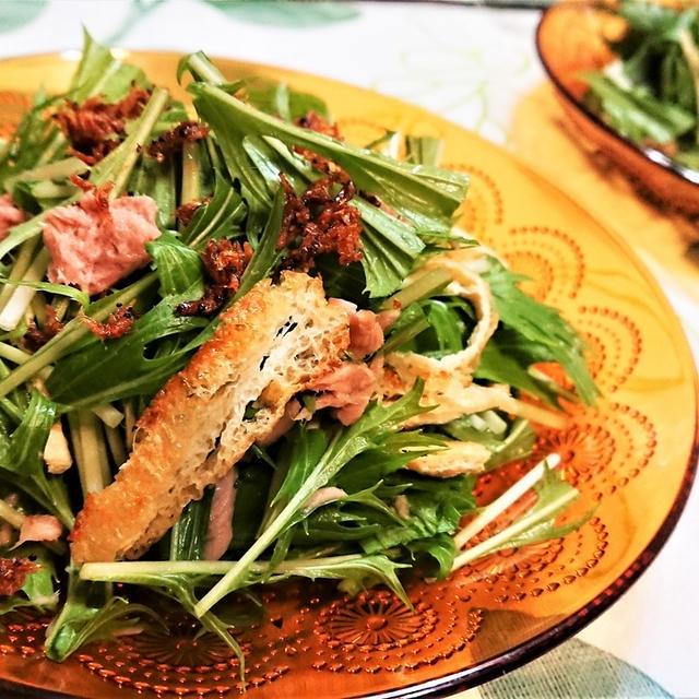 【レシピ】小揚げと干しエビの香ばし水菜サラダ【#シンプル#サラダ#節約#水菜#ツナ缶#旨み】
