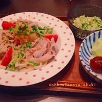 豚しゃぶサラダうどんで手抜きのススメ(´・_・`)