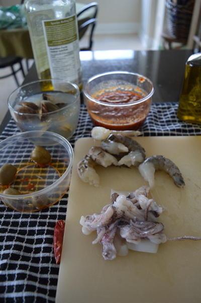 魚介類のパスタ