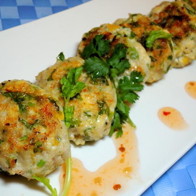 旅行前日のやっつけ料理、海老と蓮根入りの豆腐ハンバーグ☆