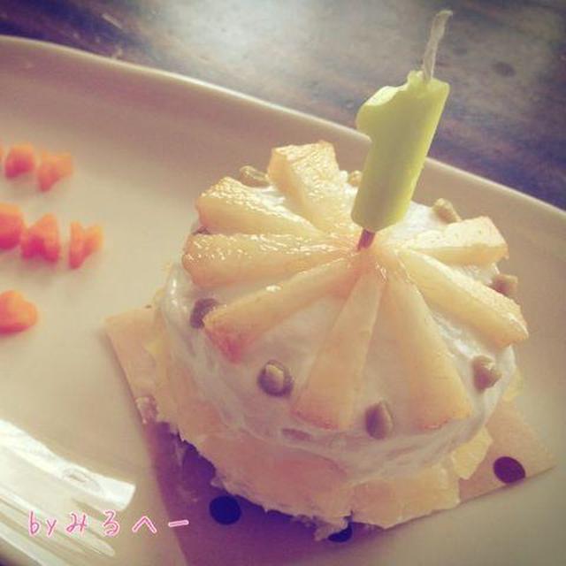 1歳おめでとう!桃とりんごのヨーグルトケーキ