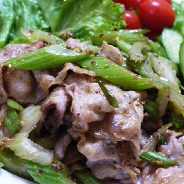 簡単☆おいしい!豚バラ肉とセロリの粒マスタード炒め♪