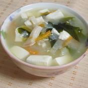 ロースハムと絹豆腐のねぎ塩スープ