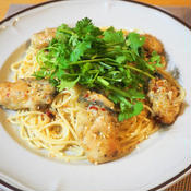 牡蠣とパクチーのアジアンペペロンチーノ