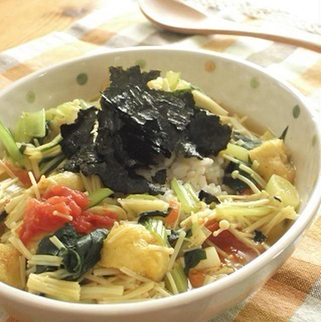 きっと頭も冴えるわよ~♪野菜たっぷりカレースープかけ発芽米!