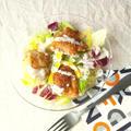 アウトドア料理にも良い、唐揚げとカットサラダで、フライドチキン・サラダ