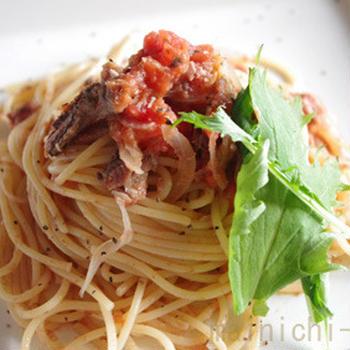 トマトとサーディンの美味パスタ