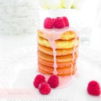 春色ピンクのマシュマロオレンジパンケーキ