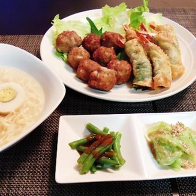 マルちゃん正麺と一緒に海老餃子と蓮根肉団子の飲茶風献立♪