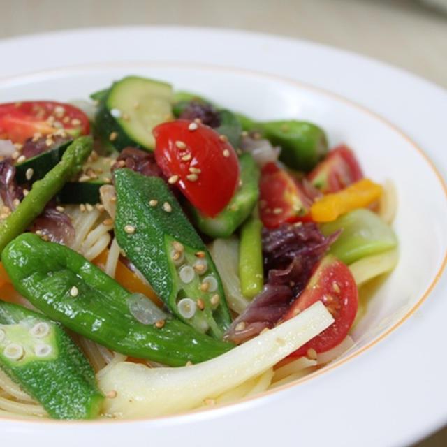 ■夏野菜のパスタ ゴマ風味
