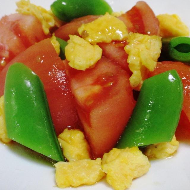 スナップエンドウとトマトの炒り卵サラダ<さっぱり♪>
