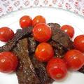 牛肉とミニトマトの黒こしょう炒め