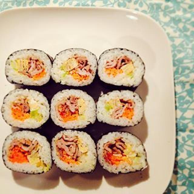 豚生姜焼きと白菜漬けの海苔巻き◎◎と「おにたのぼうし」