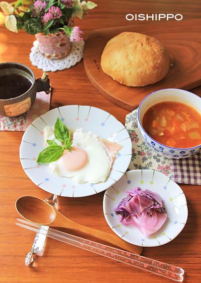 オイスターソースミネストローネで朝ご飯