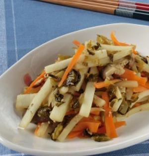 漬物の旨味で味付け簡単☆大根の高菜きんぴら