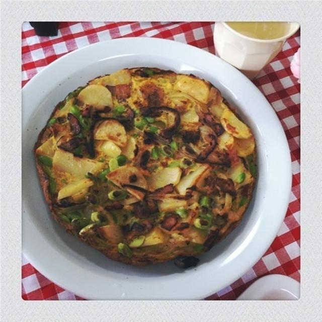 レシピ*フライパンで野菜と豆とベーコンのスパニッシュオムレツ風