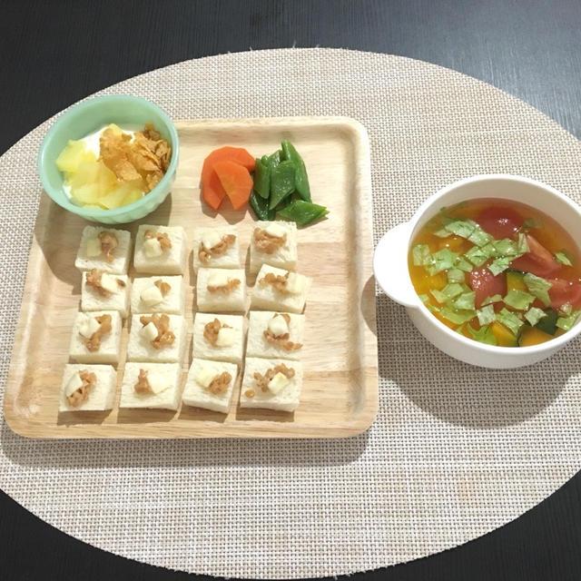【幼児食】お子様ランチ♡納豆チーズトースト