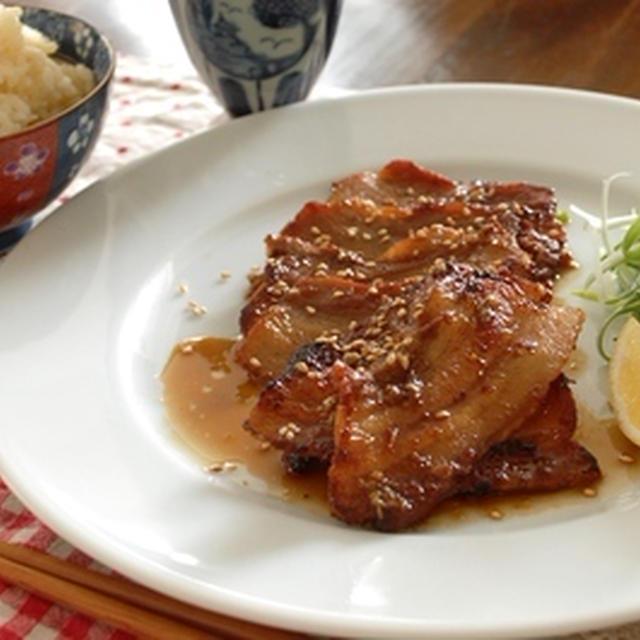 豚バラの柚子胡椒ガーリック照り焼き肉