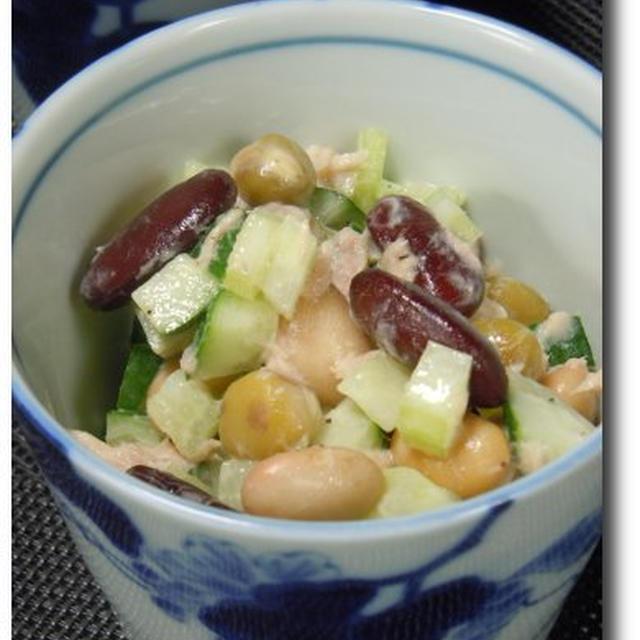 たっぷり野菜とお豆のツナサラダ