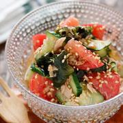 トマトときゅうりとわかめの中華サラダ【#簡単 #切って和えるだけ #副菜】