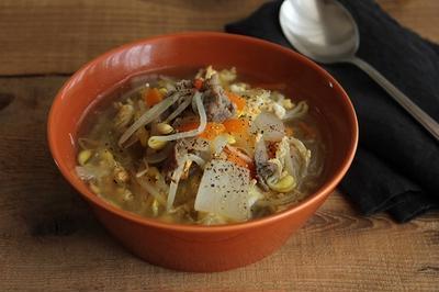 簡単!具だくさんスープ♪牛肉と豆もやしのクッパ風スープ