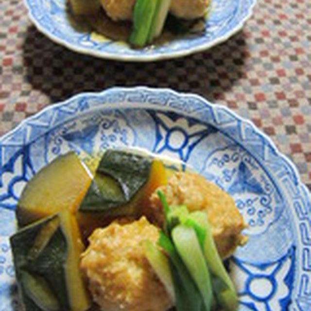 「鶏団子と南瓜と青葱の煮物」