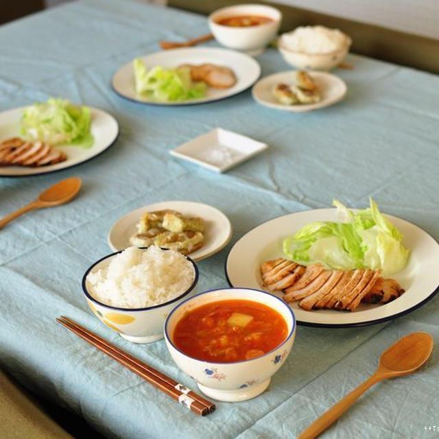 鶏胸肉のヘルシーチリグリルとwの旨みの具だくさんトマトスープ