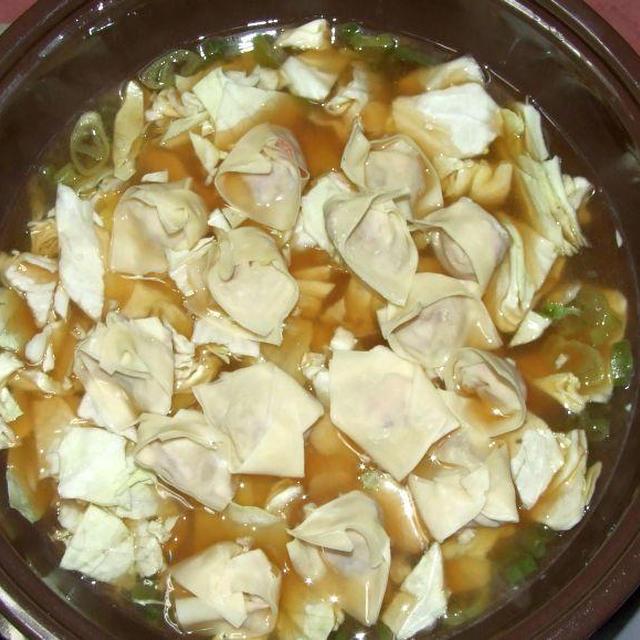 ワンタン鍋&キャベツミートソーススパ