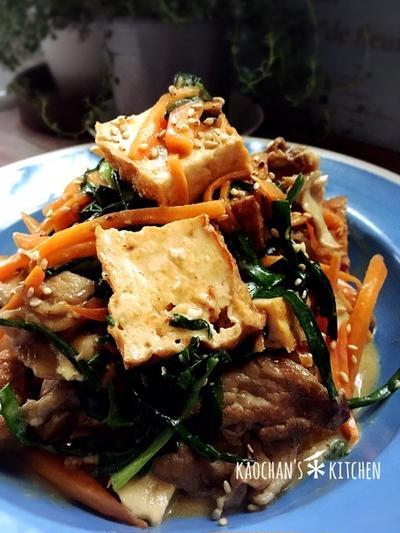 ご飯が進む*厚揚げと豚コマのオイマヨ炒め。