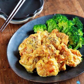 ♡鶏むね肉のカレーマヨ和え♡【#簡単レシピ#時短#節約#連載】