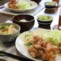 鶏の唐揚げ と たけのこご飯。