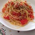 5分で♪フレッシュトマトとツナのスパゲティ