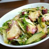 タコの水菜ときゅうりの中華サラダ♪