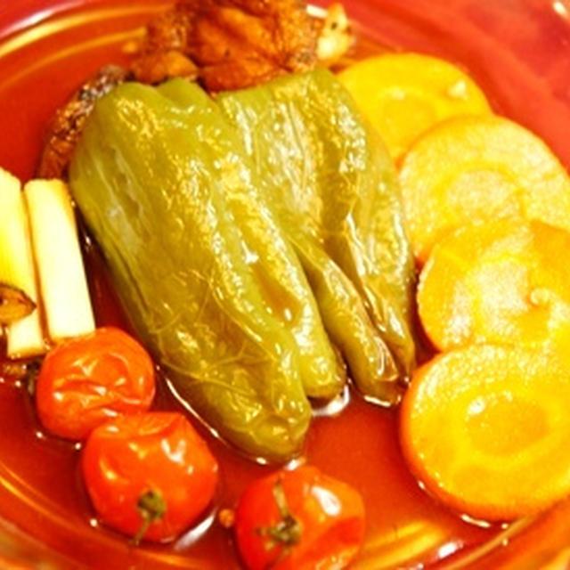 夏野菜の焼き浸し、蕪とキュウリのレモン揉み、アサリとワラビの炊き込みご飯