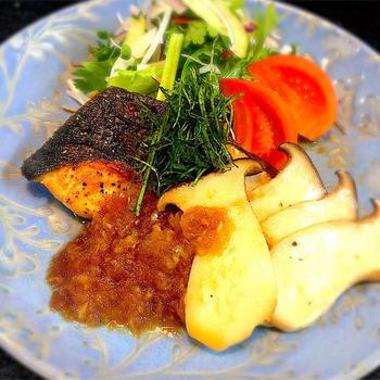 秋鮭とエリンギの和風ステーキ