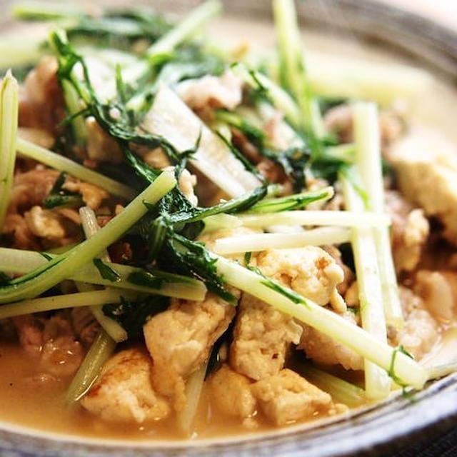お出汁を入れて旨みたっぷり☆水菜と豆腐の炒め