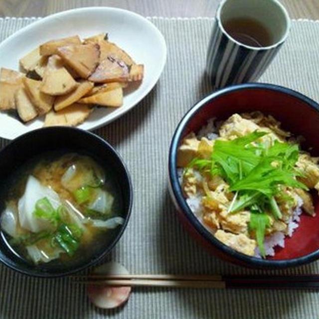 豆腐卵丼と筍の炒め煮