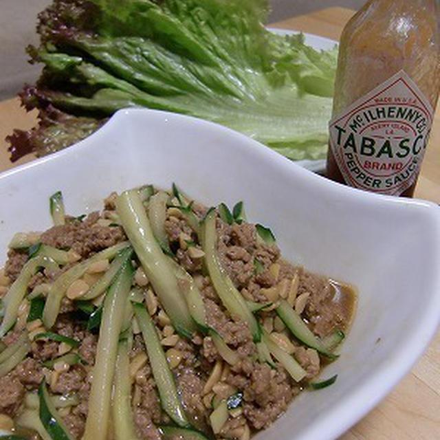 スパイシー♪納豆とひき肉のレタス包みサラダ