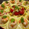 ホタテとエビのカルパッチョ柚子胡椒風