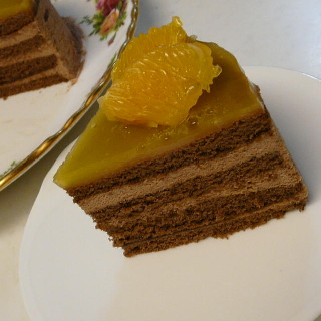 オレンジゼリー&チョコレートムースのケーキ
