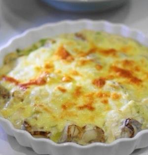 長ねぎとベビーホタテの豆腐クリームグラタン