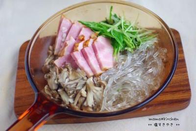 厚切りベーコンと水菜の塩すき焼き*こっちゃん、初生りを収穫!