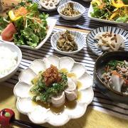 野菜たっぷり!食べるおかずスープ♡レンジde簡単!豚えのきの梅肉おろしニラだれ♡
