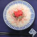 2分で簡単発芽玄米おかゆにハムととろろ昆布と紅生姜のせ