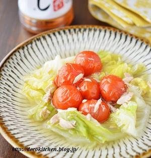包丁・まな板いらず!じゅわ~んとおいしい「春キャベツとツナとミニトマトの白だしさっと煮」