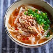 ♡コスパ抜群♡ひき肉ともやしの味噌スープ♡【#簡単レシピ#時短#節約】
